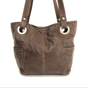 Fossil Distressed Brown Leather Tote Bag